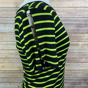 Cable & gauge Sz M Black/Green Striped Top
